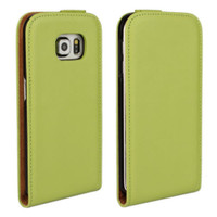 Green Samsung Galaxy S6 Premium Leather Vertical Flip Case