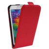 Red Genuine Leather Flip Case for Samsung Galaxy S5 Cover - 2
