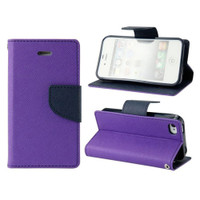 Violet / Navy Apple iPhone 5C Diary Wallet Gel Inner Case Cover