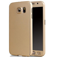 Gold Samsung Galaxy S6 Full 360 Degree Case + Tempered Glass Guard - 1