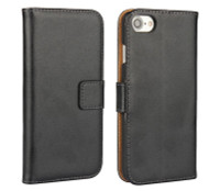 Black Genuine Leather Business Wallet Case for Apple iPhone 7 - 1
