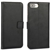 Black Genuine Leather Wallet Case for Apple iPhone 7 Plus - 1
