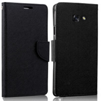 Black Diary Wallet Flexible Holder Case For Samsung Galaxy A7 (2017)