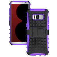 Purple Tough Armor Tire Tread  Kickstand Case For Samsung Galaxy S8