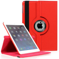 "Red iPad 2017 9.7"" 360 Degree Slim Rotating Synthetic Leather Case  - 1"