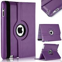 Purple Apple iPad Mini 4 Degree Rotating Leather Stand Case Smart Cover - 1