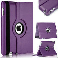 Purple Apple iPad Mini 4 Degree Rotating Leather Stand Case Smart Cover - 1