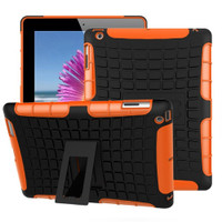 Orange Rugged Hybrid Heavy Duty Stand Cover Case for iPad 2017 - 1