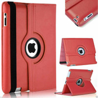 Red 360 Degree Slim Rotating Synthetic Leather Case Stand for Apple iPad Mini 4 - 1