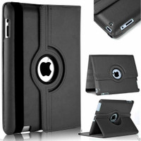Black Apple iPad Mini 4 360 Degree Rotating Premium Synthetic Leather Case Stand - 1