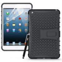 Black Shock Proof Defender Hybrid Kickstand Case For Apple iPad Mini 4 - 1