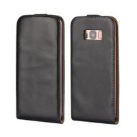 Black Samsung Galaxy S8 Vertical Flip Genuine Split Leather Case Cover - 1
