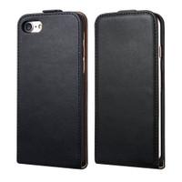 Black Apple iPhone 7 Plus Vertical Flip Genuine Split Leather Case - 1