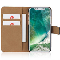 Apple iPhone X Genuine Leather Business Wallet Smart Case Cover - Black - 1