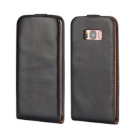 Samsung Galaxy Note 8 Black Vertical Flip Genuine Split Leather Case Cover - 1
