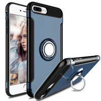 Navy Blue iPhone 7 Plus / iPhone 8 Plus 360 Degree Ring Stand Magnetic Case  - 1