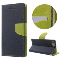 Apple iPhone 7 / 8 Diary Wallet TPU Gel Holder Case - Navy / Green