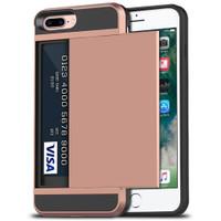 Rose Gold Rubber Bumper Slide Armor Card Holder Case For Apple iPhone 7 Plus / 8 Plus - 1