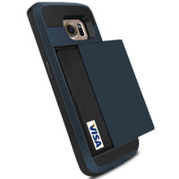 Deep Blue Shock Proof Slide Card Armor Case For Samsung Galaxy S6 - 1