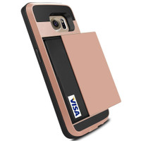 Rose Gold Shock Proof Slide Card Armor Case For Samsung Galaxy S6 - 1