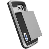 Satin Silver Bumper Slide Armor Card Case For Samsung Galaxy S6 - 1