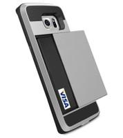 Satin Silver Rubber Bumper Slide Armor Card Holder Case For Samsung Galaxy S7 Edge - 1