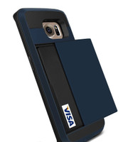 Dark Blue Slide Armor Case with Card Slot Holder For Samsung Galaxy S6 Edge - 1