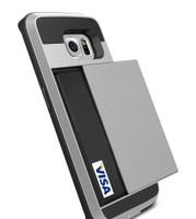 Satin Silver Protective Shell Slide Armor Card Holder Case For Samsung Galaxy S6 Edge - 1