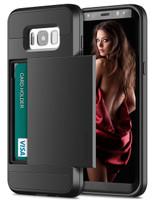 Black Shock Proof Slide Card Armor Case For Samsung Galaxy S8 Plus - 1