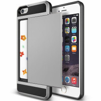 Satin Silver Protective Shell Slide Armor Card Holder Case For Apple iPhone 5, 5S, SE - 1