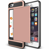 Rose Gold Slide Armor Case with Card Slot Holder For Apple iPhone 6 / 6S - 1