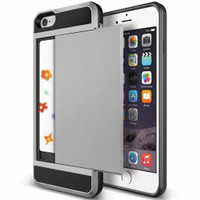Satin Silver Protective Shell Slide Armor Card Holder Case For Apple iPhone 6 / 6S - 1