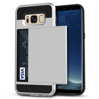 Satin Silver Protective Shell Slide Armor Card Holder Case For Samsung Galaxy S8 - 1