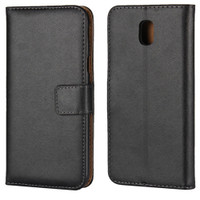 Black Genuine Leather Wallet Case For Samsung Galaxy J5 Pro (2017) - 1