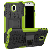 Green Samsung Galaxy J7 Pro (2017) Heavy Duty Hybrid Kickstand Case