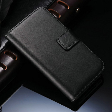 Black Genuine Leather Wallet Case for Apple iPhone 4 / 4S - 1