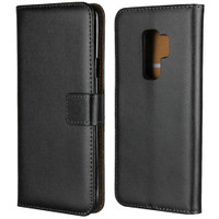 Black Genuine Leather Business Wallet Case For Samsung Galaxy S9 Plus - 1