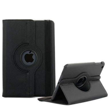 Black Apple iPad Air 360 Rotating Leather Stand Case Smart Cover - 1