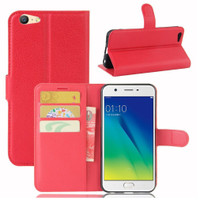 Red Premium Litchi Leather Wallet Stand Case for Oppo A57