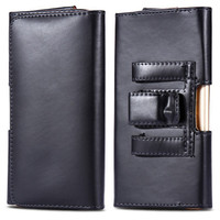Black Galaxy S9 Premium Leather Belt Clip Pouch Holster Case - 1