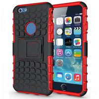 "Red Apple iPhone 6 / 6S Plus 5.5"" Rugged Dual Layer Hybrid Kickstand Case - 1"