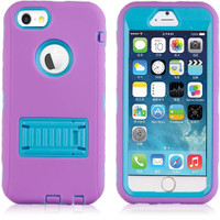 "Purple / Blue All in 1 Defender Case Built In Screen Protector for iPhone 6 / 6S 4.7"" - 1"