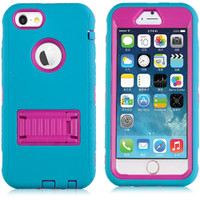"Blue / Pink All in 1 Defender Case Built In Screen Protector for iPhone 6 / 6S 4.7"" - 1"