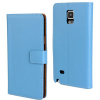 Blue Genuine Leather Wallet Case for Samsung Galaxy Note Edge N9150