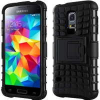 Black Samsung Galaxy S5 Mini Impact Hybrid Kickstand Defender Case Cover