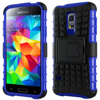 Blue Samsung Galaxy S5 Mini Anti Shock Proof Kickstand Builders Case