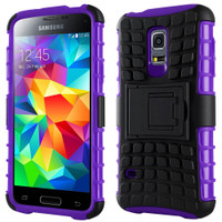 Purple Heavy Duty Rugged Kickstand Armour Case For Galaxy S5 Mini