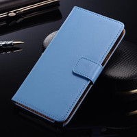 Samsung Galaxy S6 Genuine Leather Wallet Case Phone Cover - Blue - 1