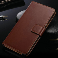 Vintage Brown Samsung Galaxy Note 4 Genuine Leather Wallet Case - 1