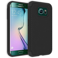 Samsung Galaxy S6 Heavy Duty Defender Case - Black Rugged Shock Proof